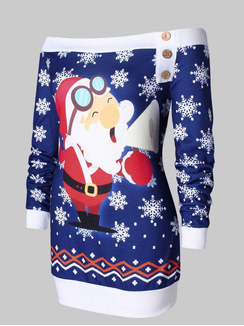 Plus Size Santa Claus Snowflake Off Shoulder Christmas T-shirt - 深藍 L Mobile
