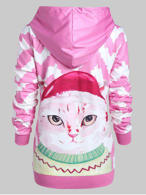 Plus Size 3D Cat Zigzag Pullover Hoodie with Pocket - 粉 L Mobile