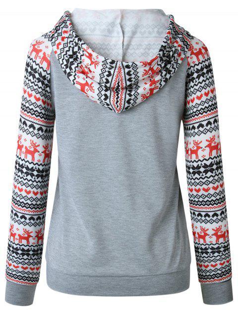 Christmas Raglan Sleeve Pullover Hoodie - 淺灰 S Mobile