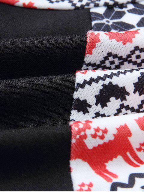 Christmas Raglan Sleeve Pullover Hoodie - 黑色 S Mobile