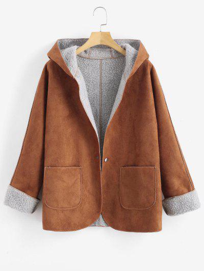 fe7cf85baaf Cuffed Sleeves Hooded Sheepskin Coat - Brown M