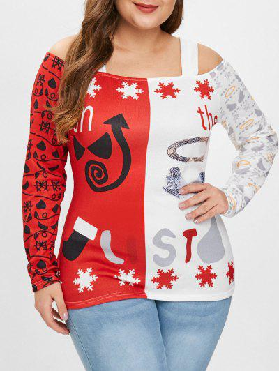 Plus Size Cold Shoulder Christmas Graphic Tee - Red 4x