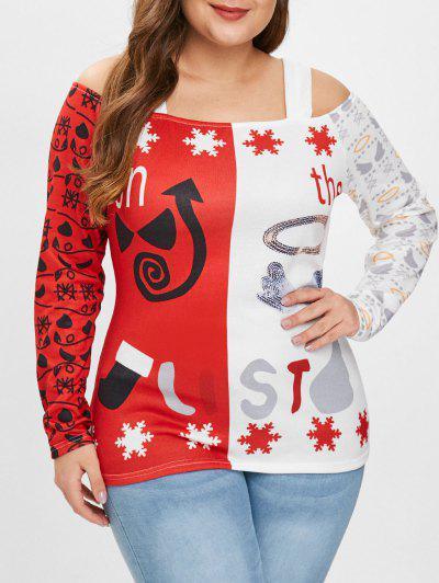 Camiseta Estampada De Navidad Con Hombros Descubiertos De Talla Grande - Rojo L