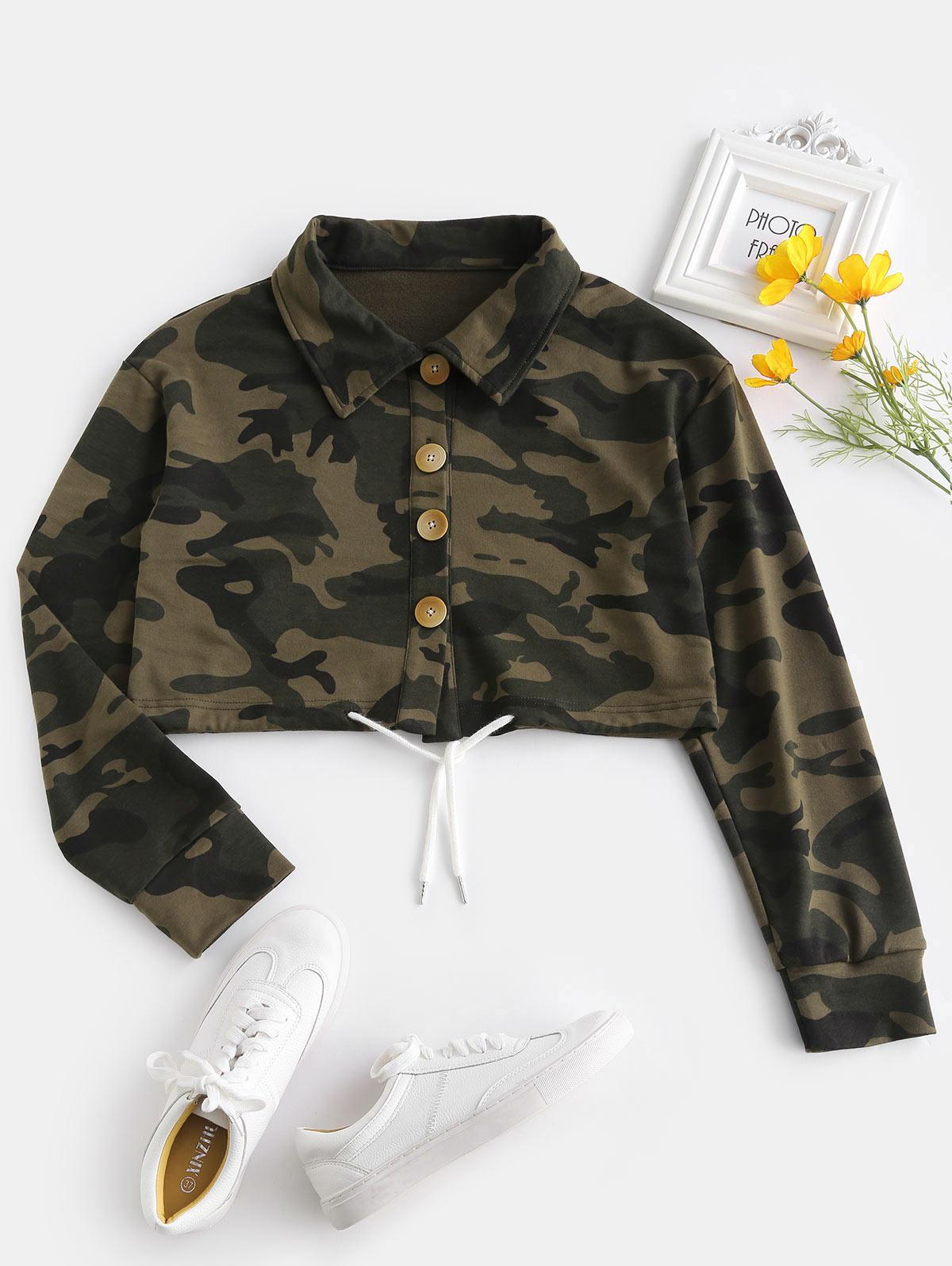ZAFUL Button Fly Camo Crop Jacket, Acu camouflage