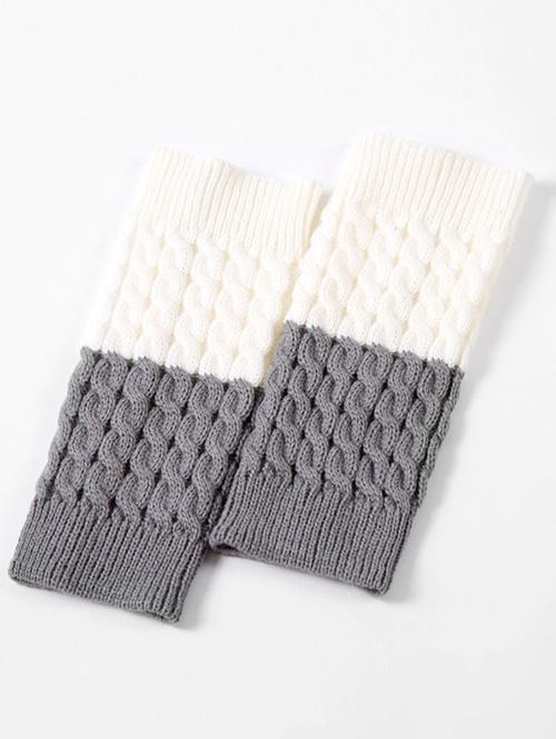 Vintage Color Block Knitting Leg Warmers