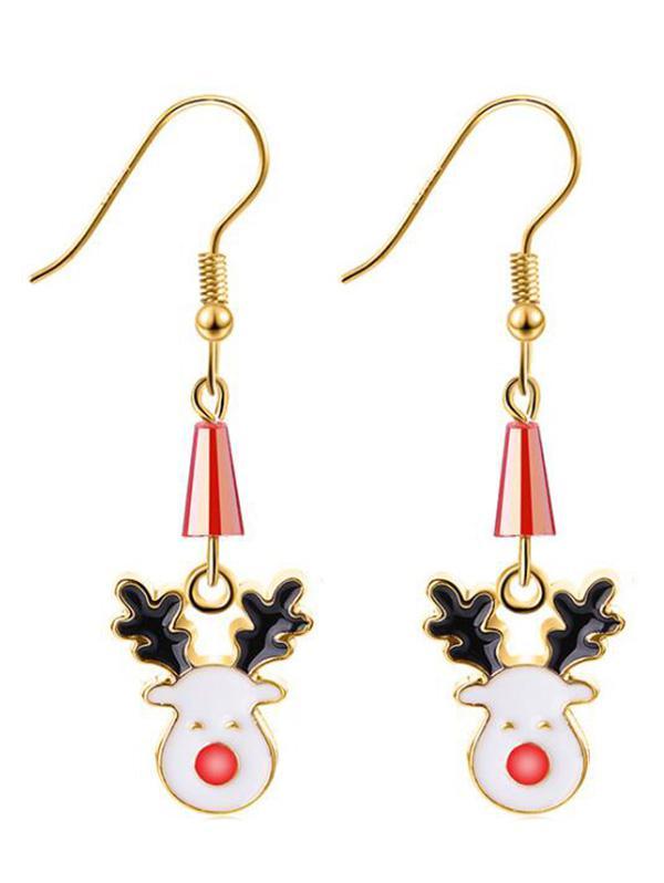 Geometric Reindeer Christmas Earrings, Gold