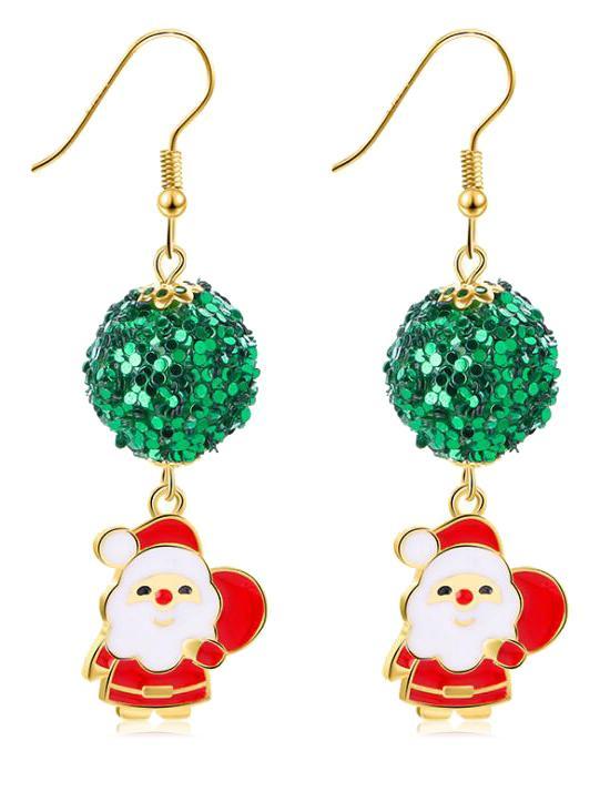 Novelty Sequins Christmas Santa Claus Earrings, Gold