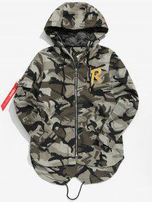 50d9c8266 High Low Hem Hooded Camo Jacket