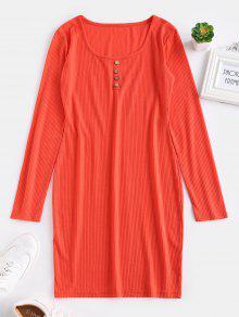 ZAFUL مزودة بأكمام طويلة فستان قصير - برتقالية زاهية S