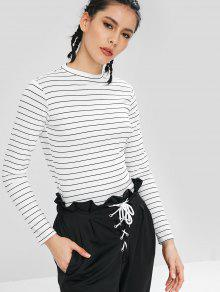 d0a2a218d5c27f 21% OFF  2019 Long Sleeves Stripe Elastic Crop Top In WHITE