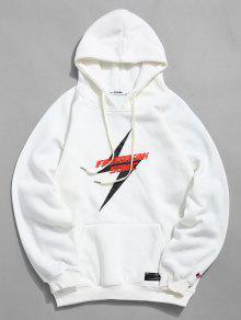 الكنغر جيب الصوف واصطف البرق جرافيك هوديي - أبيض Xl