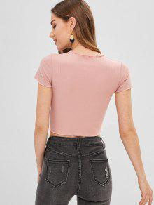b7f9587e9d487 12% OFF  2019 Lettuce Hem Ribbed Slim Fit Crop Top In PIG PINK