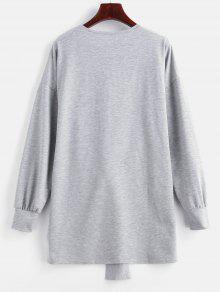 fdbf2e947f53e 28% OFF] 2019 Tie Waist Mini Sweatshirt Dress In LIGHT GRAY | ZAFUL