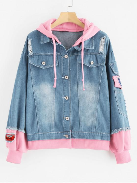 sale Distressed Hooded Denim Jacket - PINK M