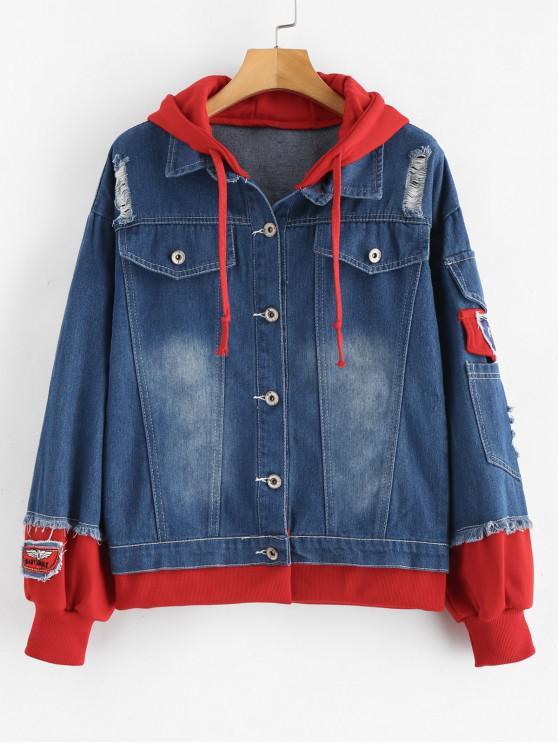womens Distressed Hooded Denim Jacket - RED M