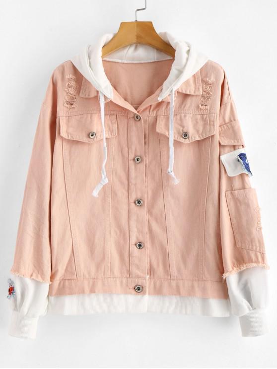 online Distressed Hooded Denim Jacket - SAKURA PINK M