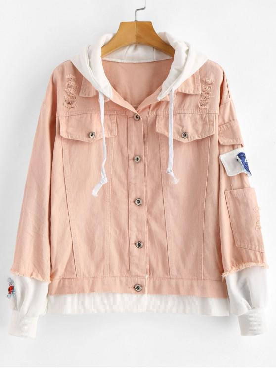 hot Distressed Hooded Denim Jacket - SAKURA PINK XL