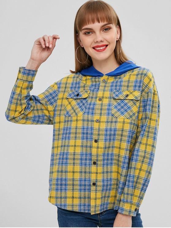 chic ZAFUL Button Up Plaid Hooded Blouse - YELLOW S