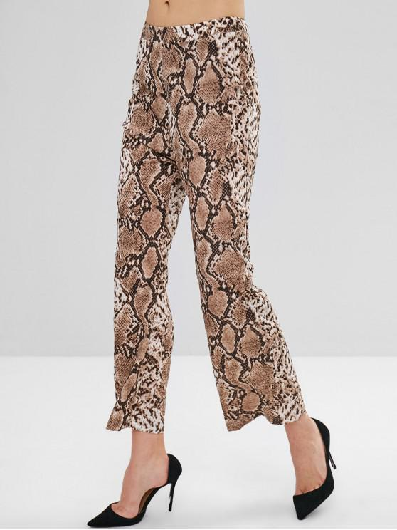 women ZAFUL Snakeskin Print Wide Leg Pants - CAMEL BROWN XL