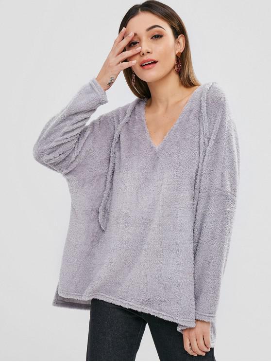 women's ZAFUL Side Slit Fluffy High Low Hoodie - LIGHT GRAY S