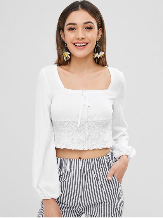 trendy ZAFUL Square Neck Smocked Crop Blouse - WHITE M