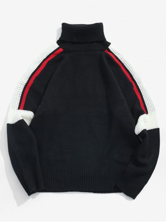 women's Pullover Color Spliced Turtleneck Sweater - BLACK L