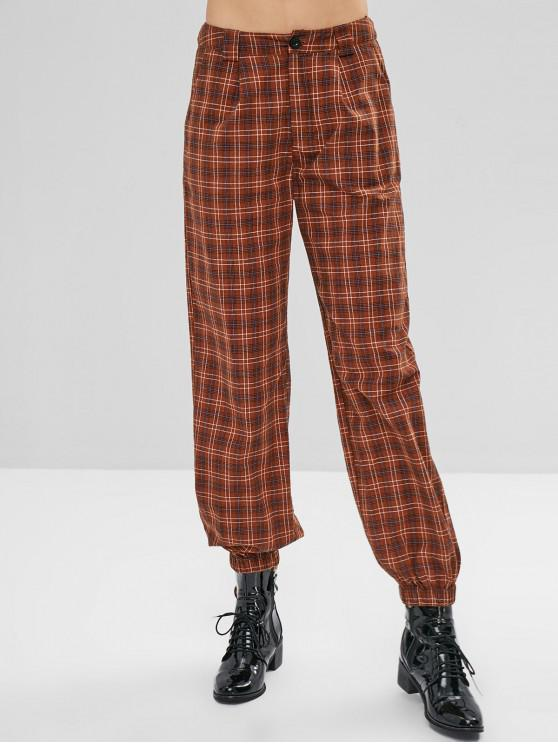 women's ZAFUL Plaid Zip Fly Jogger Pants - DARK KHAKI M