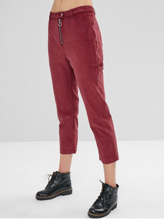 shop ZAFUL Zip Fly Corduroy Pencil Pants - RED WINE L
