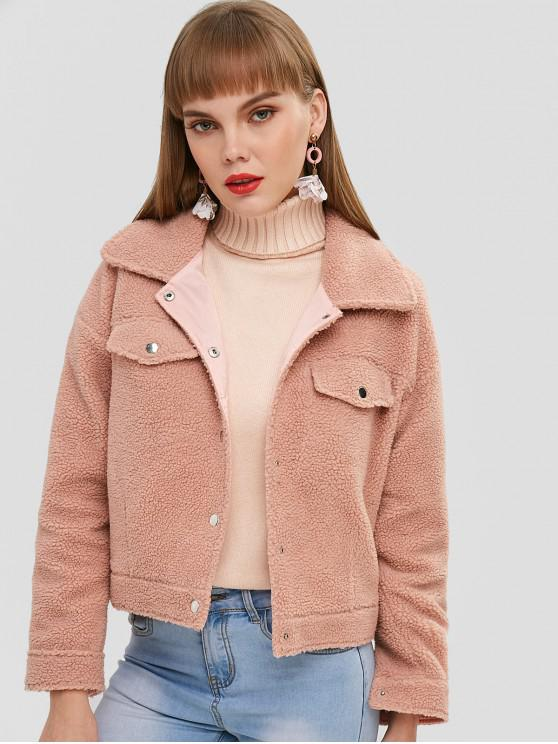 trendy ZAFUL Pocket Shearling Teddy Fluffy Jacket - APRICOT M
