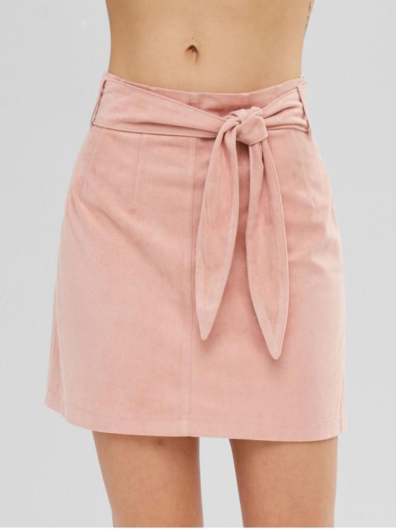 women ZAFUL Short Faux Suede Tied Skirt - DEEP PEACH L