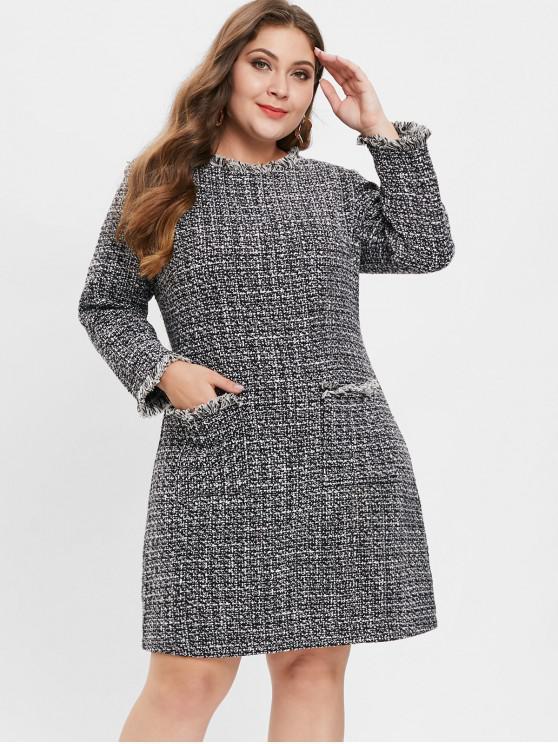 Meliertes Plus Size Tweed Kleid - Schwarz 4X