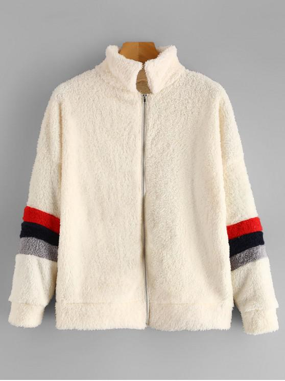 womens Stripes Zip Up Fluffy Teddy Coat - WARM WHITE M