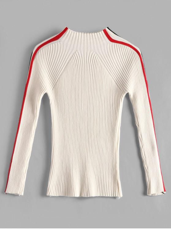 lady Striped Mock Neck Fitted Sweater - WHITE ONE SIZE