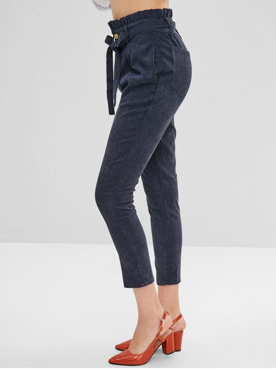 Calças de veludo cintado com cinto de cintura alta - Azul de Ardósia Escura M
