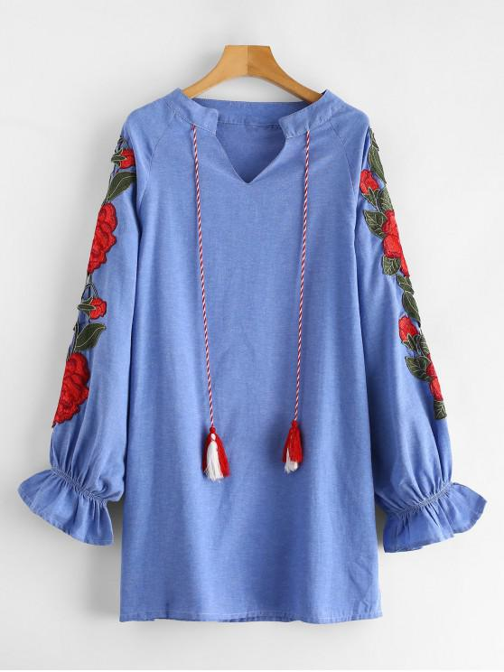 shop Tassel Flower Embroidered Chambray Dress - SKY BLUE L