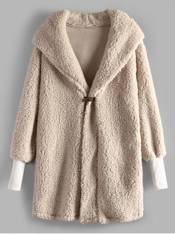 buy Horn Button Faux Fur Hooded Coat - BEIGE S
