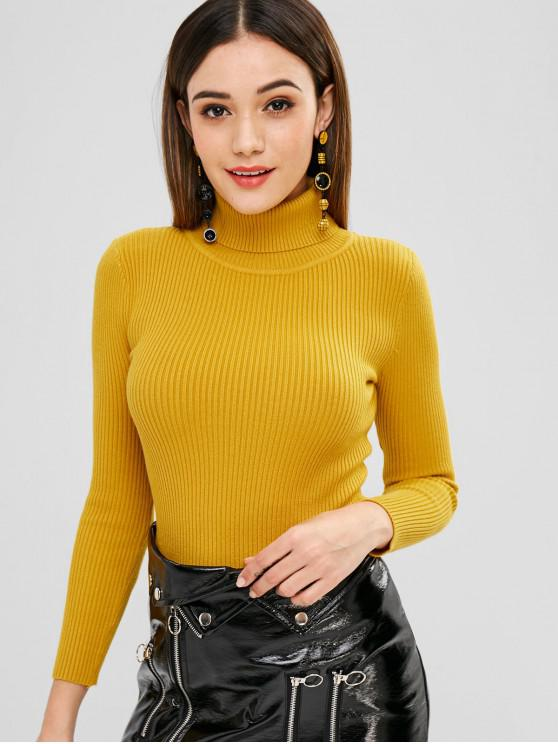ba800f9d5033 50% OFF  2019 Turtleneck Ribbed Fitted Sweater In YELLOW