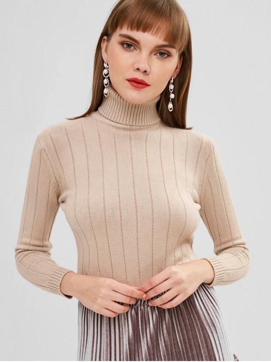 online Turtleneck Long Sleeve Jumper Sweater - TAN ONE SIZE