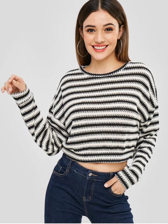 fashion Striped Loose Crop Sweater - MULTI-A XL