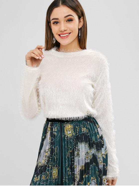 women's Solid Color Pullover Fluffy Sweater - WARM WHITE XL