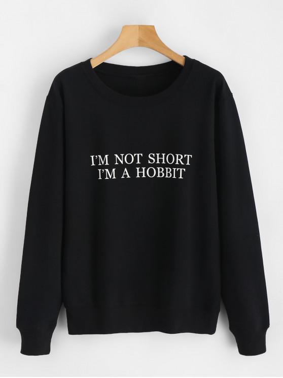 unique Letter Graphic Long Sleeve Sweatshirt - BLACK XL