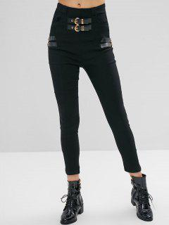 Buckled Skinny High Waisted Pants - Black L