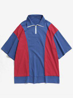 Top Zipper Color Block T-shirt - Blue Xl