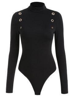 Long Sleeve Snap Crotch Grommets Bodysuit - Black M