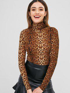 Camiseta Corta Con Estampado De Leopardo De Jersey De Cuello Alto - Leopardo M