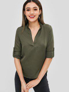 Asymmetric Plunge Tunic Blouse - Army Green S