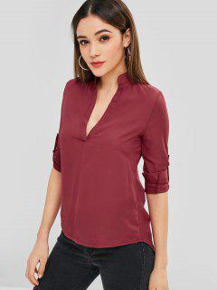 Asymmetric Plunge Tunic Blouse - Red Wine M