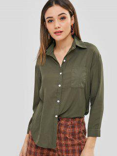 Button Up Front Pocket Blouse - Army Green L
