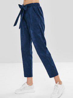 Pantalon En Velours Côtelé Noué à La Taille - Bleu Foncé L