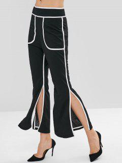 Contrast Trim Slit Casual Flare Pants - Black L